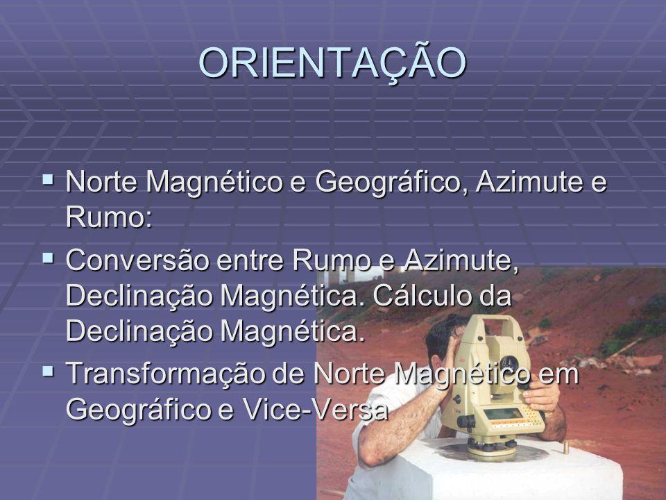 ORIENTAÇÃO Norte Magnético e Geográfico, Azimute e Rumo: Norte Magnético e Geográfico, Azimute e Rumo: Conversão entre Rumo e Azimute, Declinação Magnética.