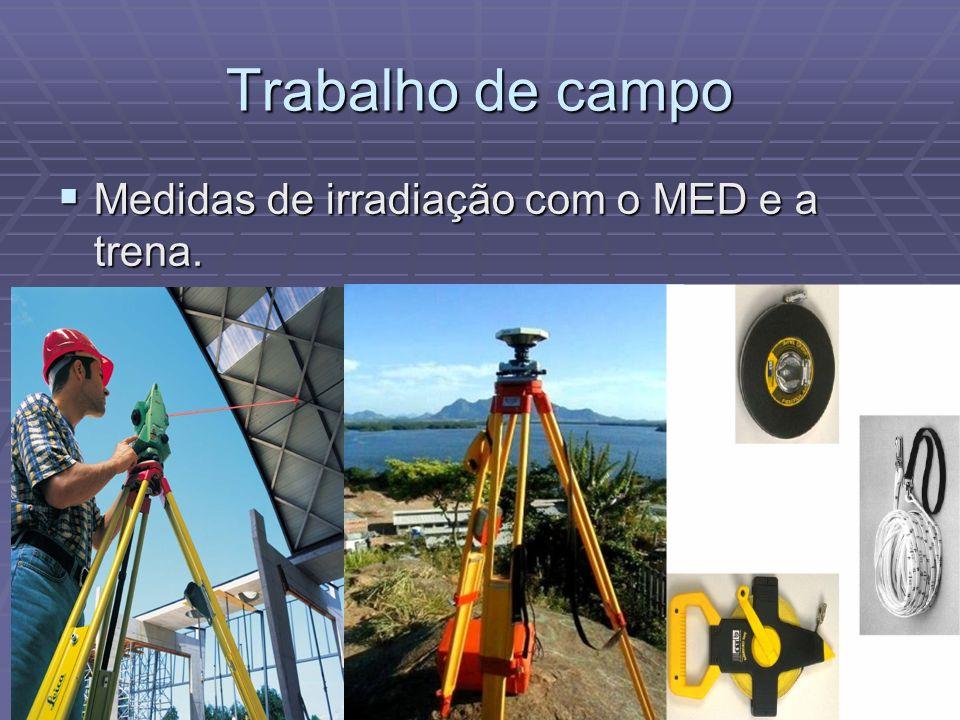 Trabalho de campo Medidas de irradiação com o MED e a trena. Medidas de irradiação com o MED e a trena.