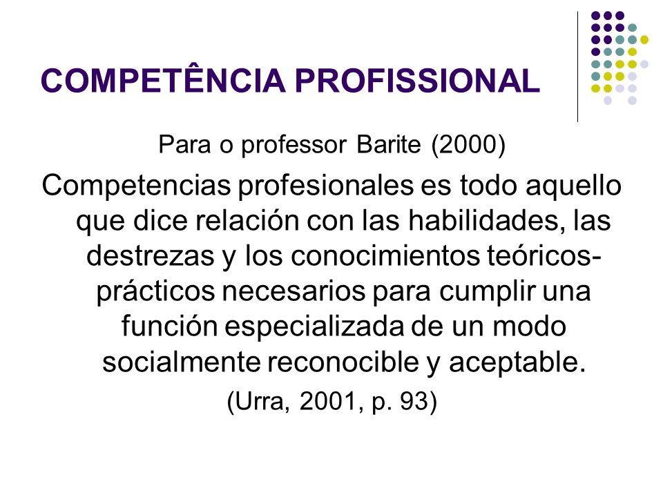 COMPETÊNCIA PROFISSIONAL Para o professor Barite (2000) Competencias profesionales es todo aquello que dice relación con las habilidades, las destreza