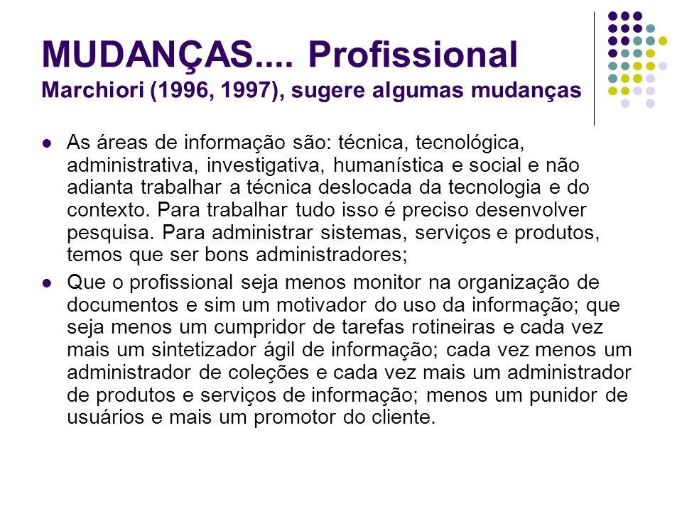 MUDANÇAS.... Profissional Marchiori (1996, 1997), sugere algumas mudanças As áreas de informação são: técnica, tecnológica, administrativa, investigat