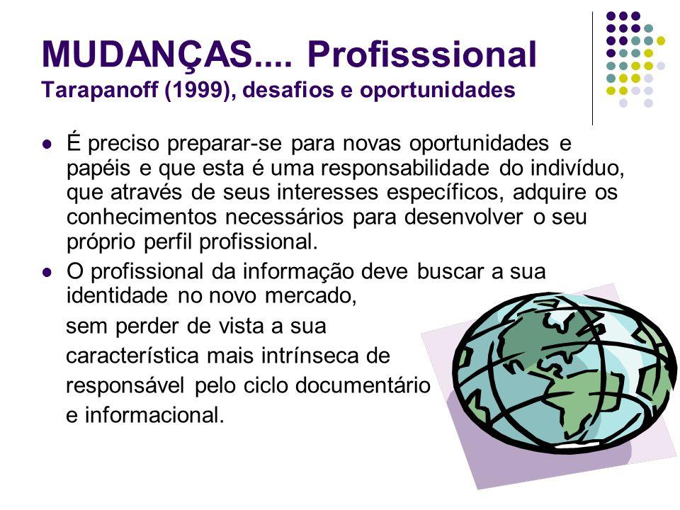 MUDANÇAS.... Profisssional Tarapanoff (1999), desafios e oportunidades É preciso preparar-se para novas oportunidades e papéis e que esta é uma respon