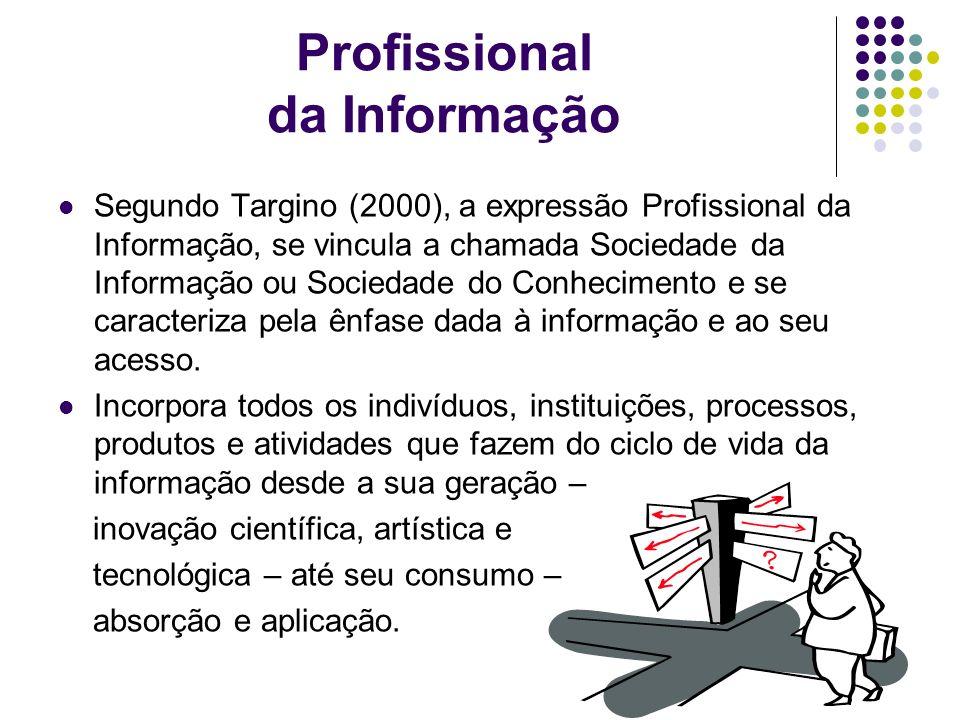 Profissionais da Informação Para Santos (1996), são profissionais da informação aqueles ligados ao setor da informação, no sentido de sua participação nos processos de geração, disseminação, recuperação, gerenciamento, conservação e utilização da informação.