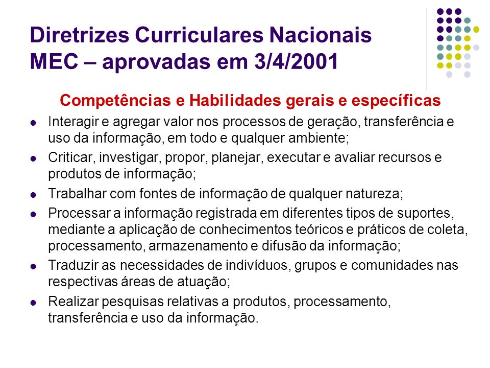 Diretrizes Curriculares Nacionais MEC – aprovadas em 3/4/2001 Competências e Habilidades gerais e específicas Interagir e agregar valor nos processos