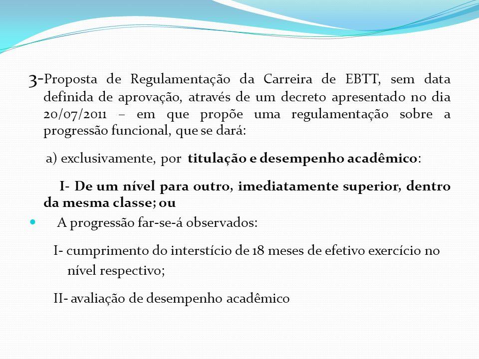 3- Proposta de Regulamentação da Carreira de EBTT, sem data definida de aprovação, através de um decreto apresentado no dia 20/07/2011 – em que propõe uma regulamentação sobre a progressão funcional, que se dará: a) exclusivamente, por titulação e desempenho acadêmico: I- De um nível para outro, imediatamente superior, dentro da mesma classe; ou A progressão far-se-á observados: I- cumprimento do interstício de 18 meses de efetivo exercício no nível respectivo; II- avaliação de desempenho acadêmico
