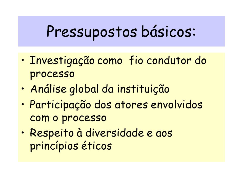 Pressupostos básicos: Investigação como fio condutor do processo Análise global da instituição Participação dos atores envolvidos com o processo Respeito à diversidade e aos princípios éticos
