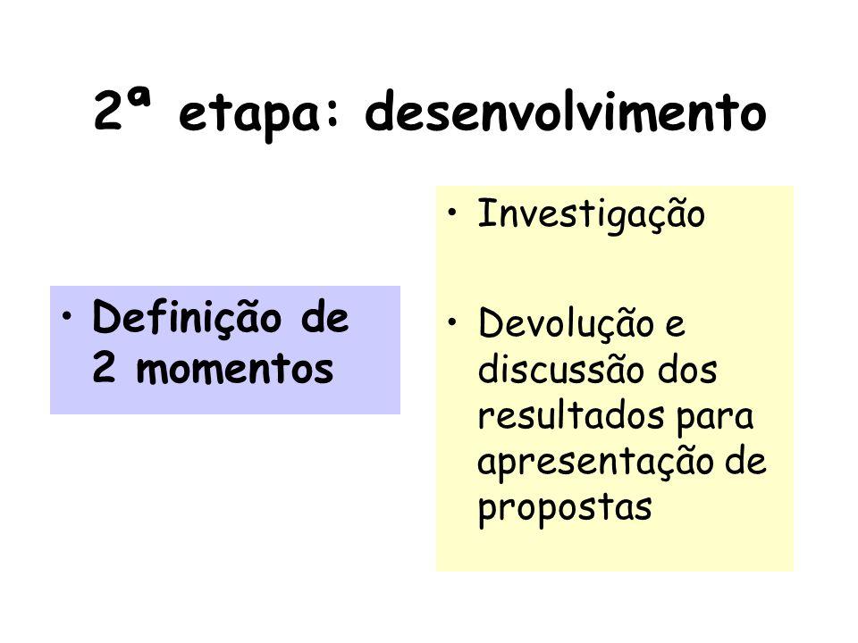 2ª etapa: desenvolvimento Definição de 2 momentos Investigação Devolução e discussão dos resultados para apresentação de propostas