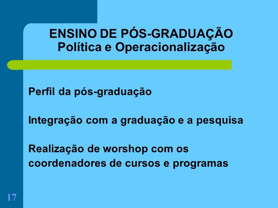 17 ENSINO DE PÓS-GRADUAÇÃO Política e Operacionalização Perfil da pós-graduação Integração com a graduação e a pesquisa Realização de worshop com os c