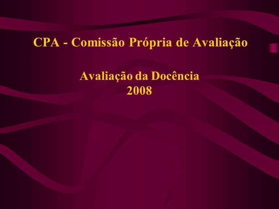 CPA - Comissão Própria de Avaliação Avaliação da Docência 2008