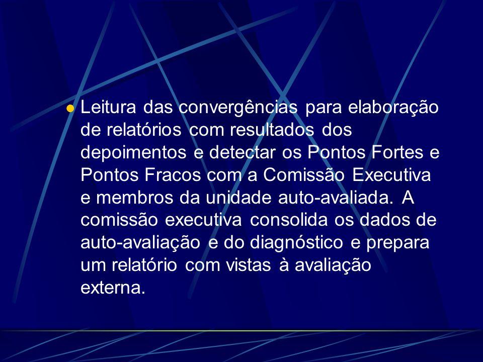 Leitura das convergências para elaboração de relatórios com resultados dos depoimentos e detectar os Pontos Fortes e Pontos Fracos com a Comissão Executiva e membros da unidade auto-avaliada.