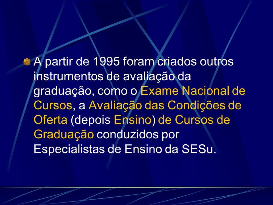 A partir de 1995 foram criados outros instrumentos de avaliação da graduação, como o Exame Nacional de Cursos, a Avaliação das Condições de Oferta (depois Ensino) de Cursos de Graduação conduzidos por Especialistas de Ensino da SESu.