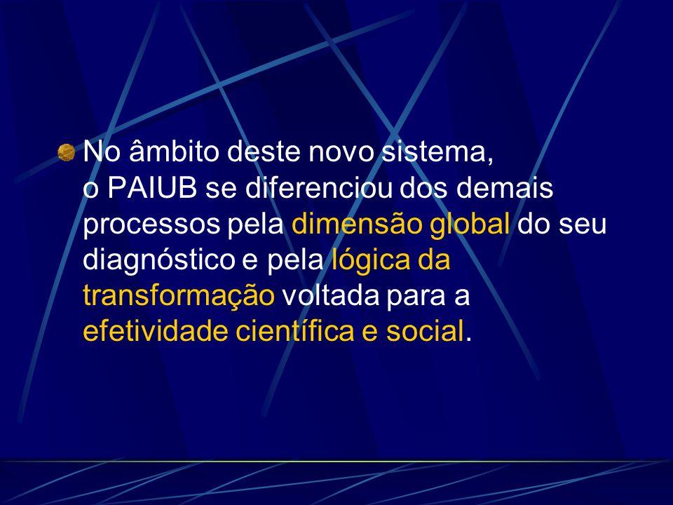 No âmbito deste novo sistema, o PAIUB se diferenciou dos demais processos pela dimensão global do seu diagnóstico e pela lógica da transformação voltada para a efetividade científica e social.