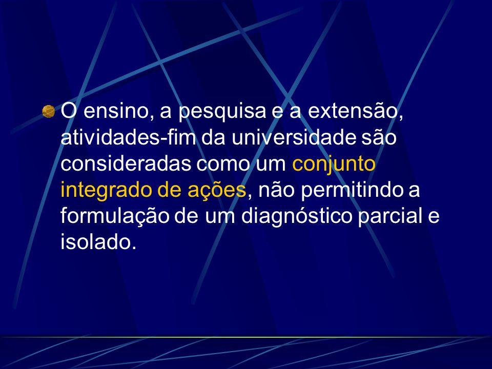 O ensino, a pesquisa e a extensão, atividades-fim da universidade são consideradas como um conjunto integrado de ações, não permitindo a formulação de um diagnóstico parcial e isolado.