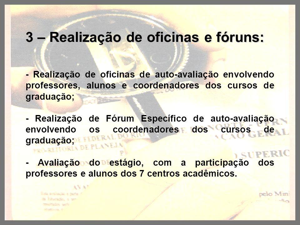 3 – Realização de oficinas e fóruns: - Realização de oficinas de auto-avaliação envolvendo professores, alunos e coordenadores dos cursos de graduação