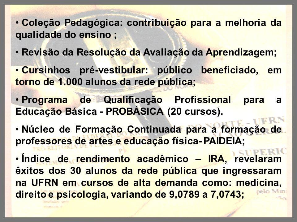 Coleção Pedagógica: contribuição para a melhoria da qualidade do ensino ; Revisão da Resolução da Avaliação da Aprendizagem; Cursinhos pré-vestibular: