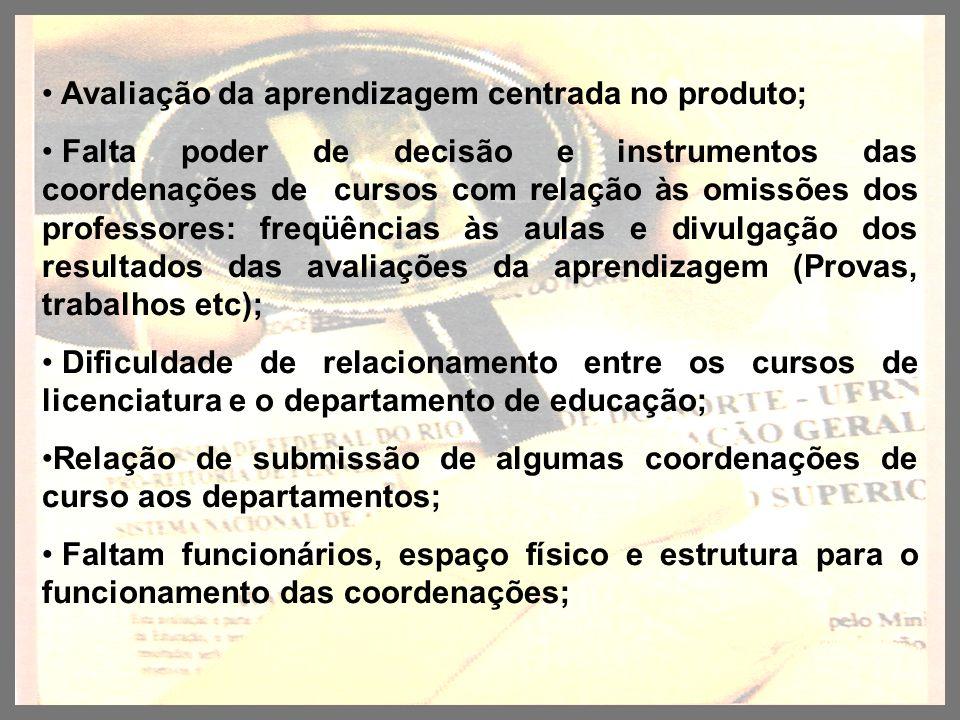 Avaliação da aprendizagem centrada no produto; Falta poder de decisão e instrumentos das coordenações de cursos com relação às omissões dos professore