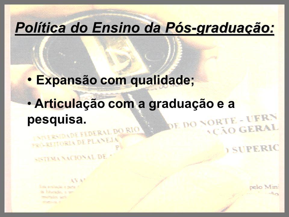 Política do Ensino da Pós-graduação: Expansão com qualidade; Articulação com a graduação e a pesquisa.
