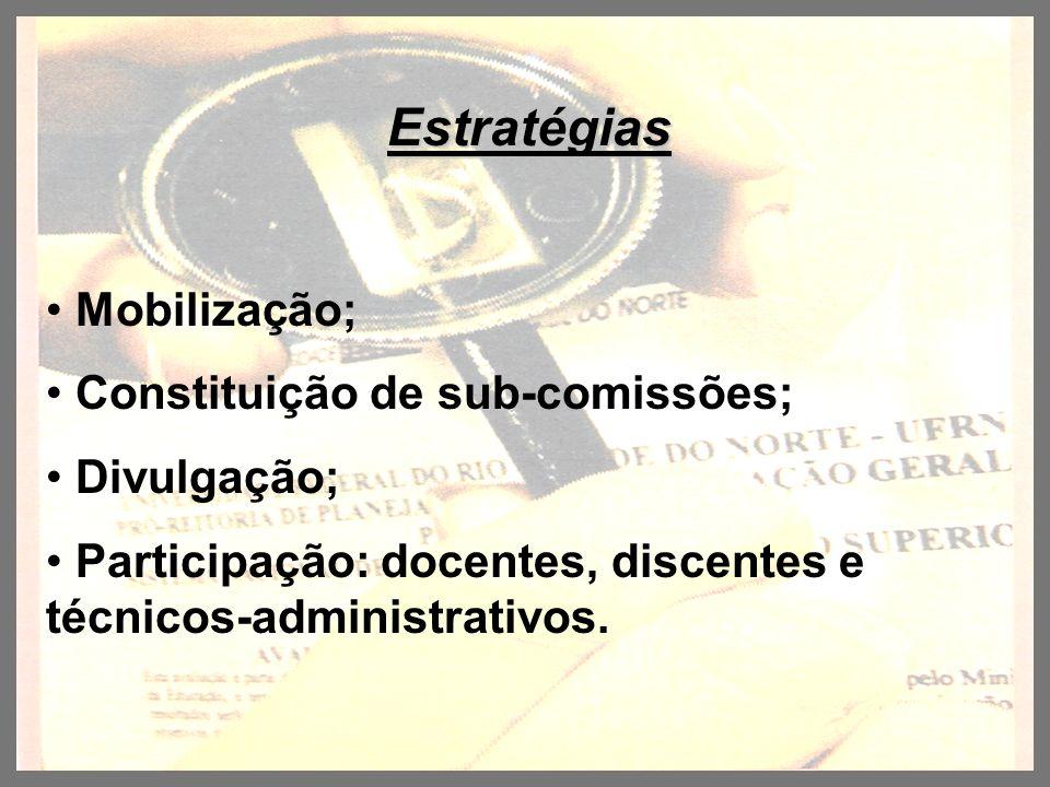 Estratégias Mobilização; Constituição de sub-comissões; Divulgação; Participação: docentes, discentes e técnicos-administrativos.