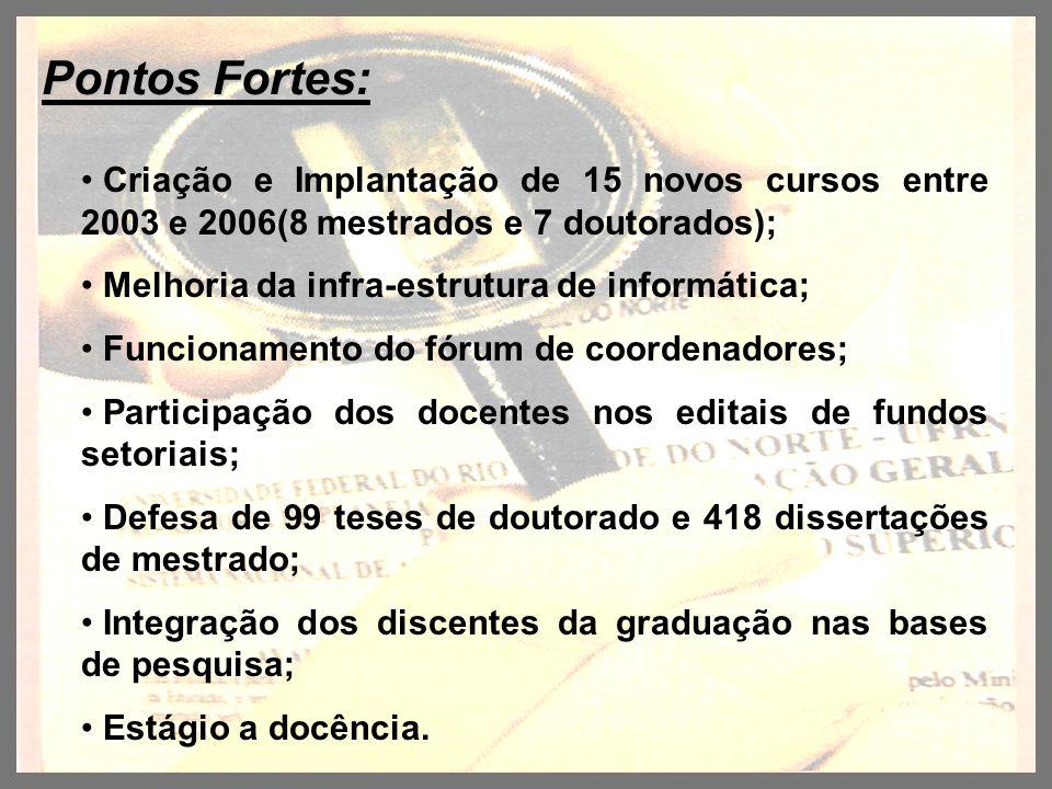 Pontos Fortes: Pontos Fortes: Criação e Implantação de 15 novos cursos entre 2003 e 2006(8 mestrados e 7 doutorados); Melhoria da infra-estrutura de i