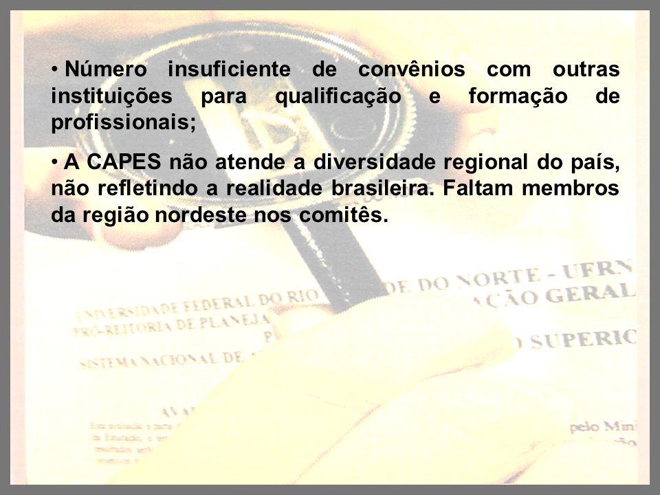 Número insuficiente de convênios com outras instituições para qualificação e formação de profissionais; A CAPES não atende a diversidade regional do p