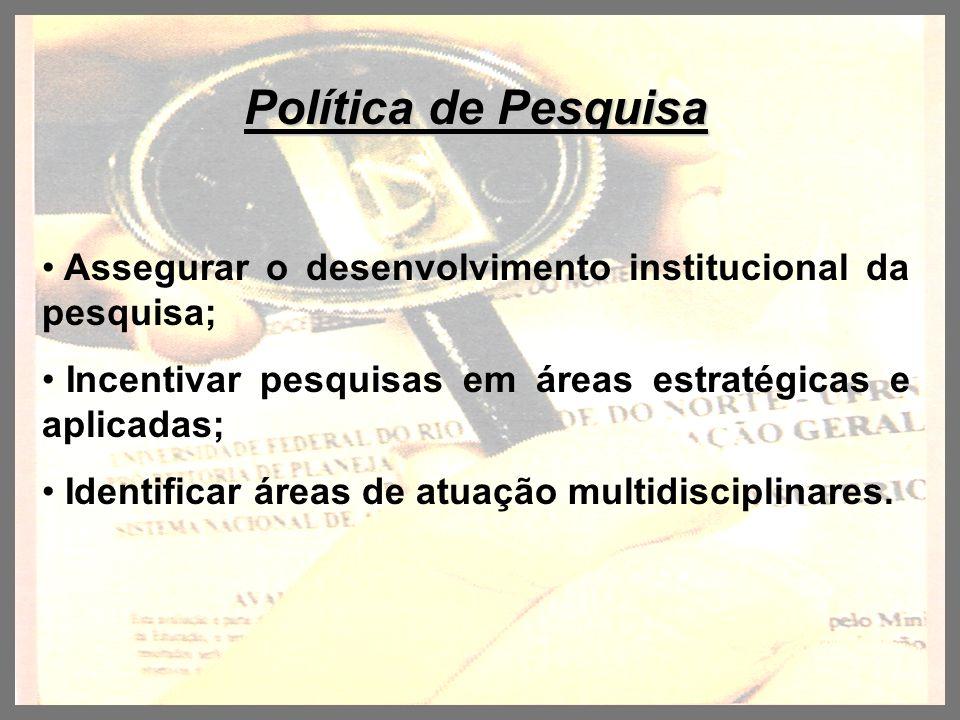 Política de Pesquisa Assegurar o desenvolvimento institucional da pesquisa; Incentivar pesquisas em áreas estratégicas e aplicadas; Identificar áreas