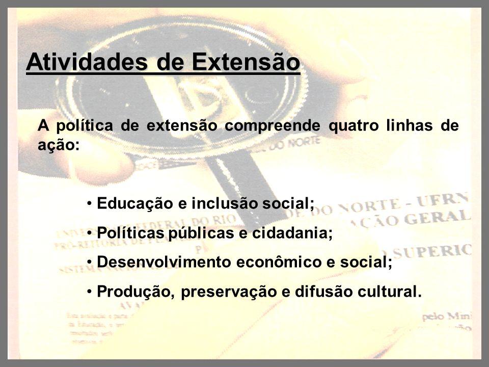 Atividades de Extensão Atividades de Extensão A política de extensão compreende quatro linhas de ação: Educação e inclusão social; Políticas públicas