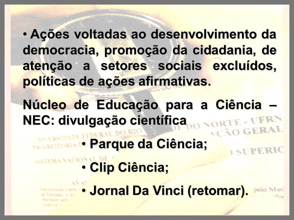 Ações voltadas ao desenvolvimento da democracia, promoção da cidadania, de atenção a setores sociais excluídos, políticas de ações afirmativas. Ações
