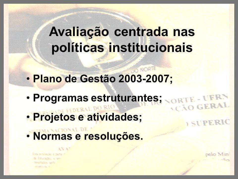 Avaliação centrada nas políticas institucionais Plano de Gestão 2003-2007; Programas estruturantes; Projetos e atividades; Normas e resoluções.
