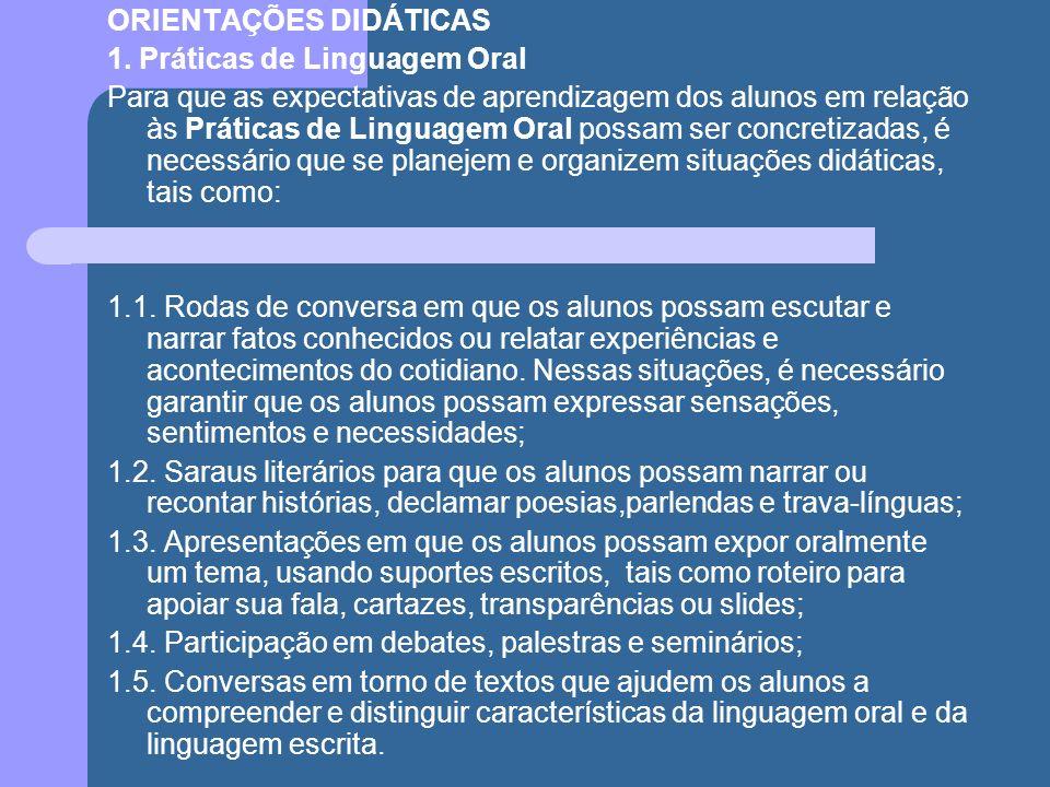 ORIENTAÇÕES DIDÁTICAS 1. Práticas de Linguagem Oral Para que as expectativas de aprendizagem dos alunos em relação às Práticas de Linguagem Oral possa