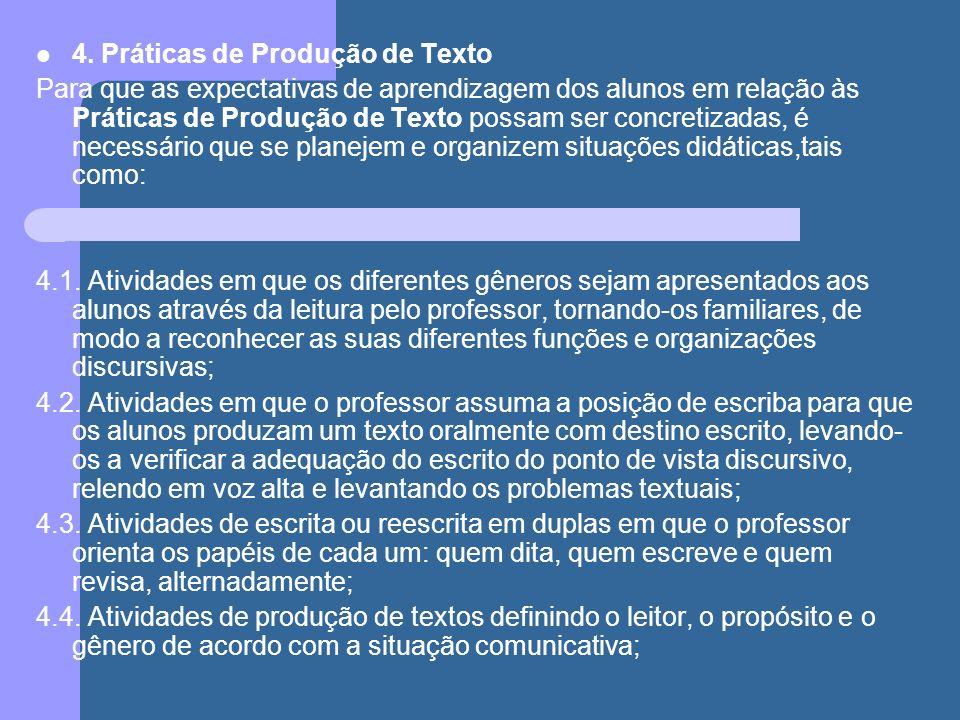 4. Práticas de Produção de Texto Para que as expectativas de aprendizagem dos alunos em relação às Práticas de Produção de Texto possam ser concretiza