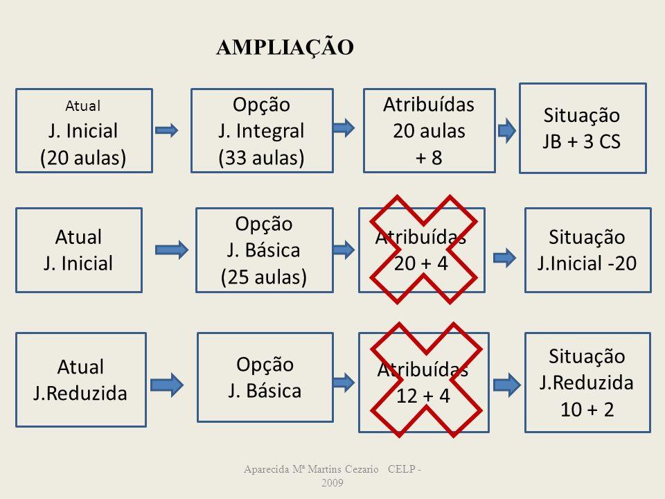 Aparecida Mª Martins Cezario CELP - 2009 Atual J. Inicial (20 aulas) Opção J. Integral (33 aulas) Atribuídas 20 aulas + 8 Situação JB + 3 CS Atual J.