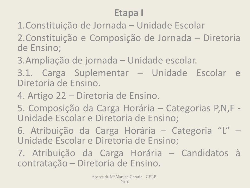 Etapa I 1.Constituição de Jornada – Unidade Escolar 2.Constituição e Composição de Jornada – Diretoria de Ensino; 3.Ampliação de jornada – Unidade esc