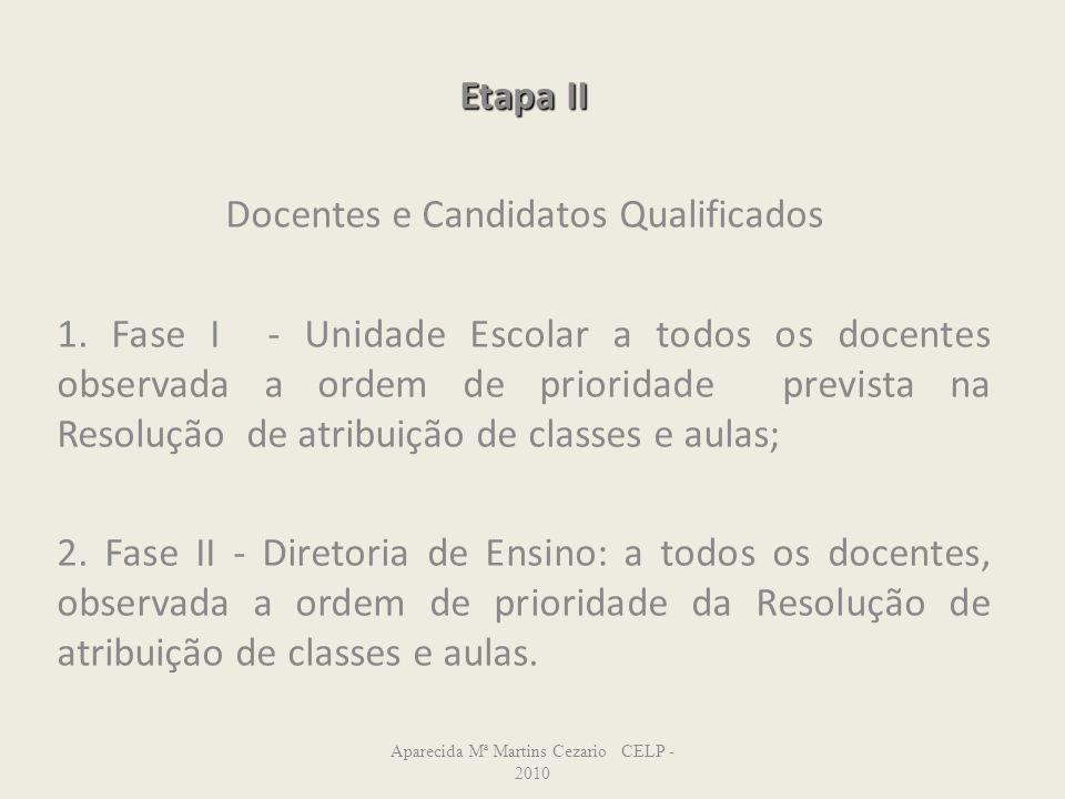 Etapa II Docentes e Candidatos Qualificados 1. Fase I - Unidade Escolar a todos os docentes observada a ordem de prioridade prevista na Resolução de a