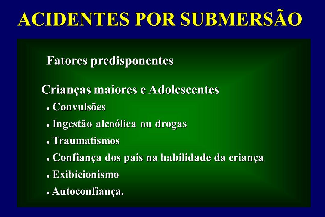ACIDENTES POR SUBMERSÃO Fatores predisponentes Convulsões Convulsões Ingestão alcoólica ou drogas Ingestão alcoólica ou drogas Traumatismos Traumatism