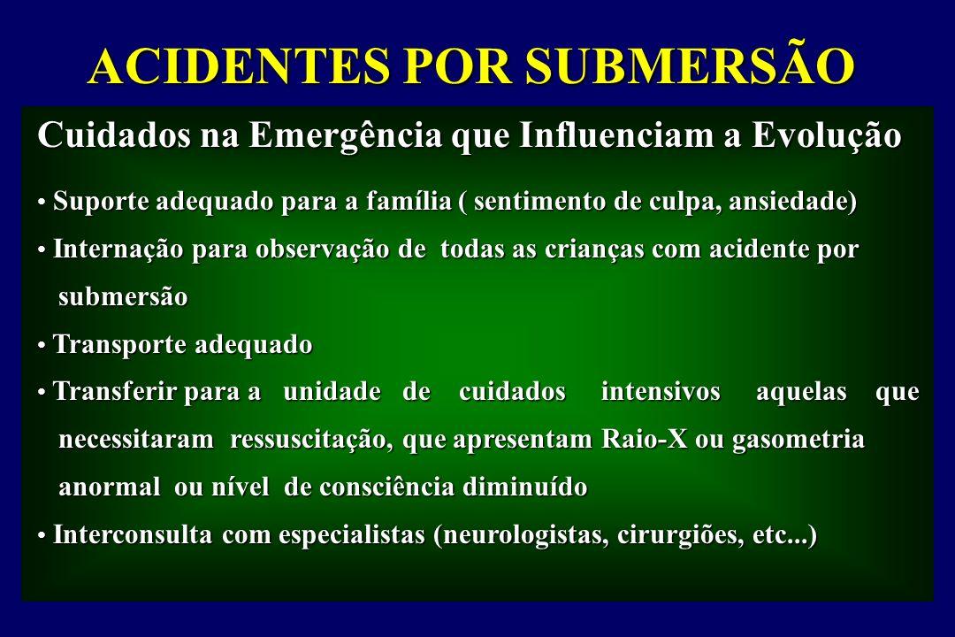 ACIDENTES POR SUBMERSÃO Suporte adequado para a família ( sentimento de culpa, ansiedade) Internação para observação de todas as crianças com acidente