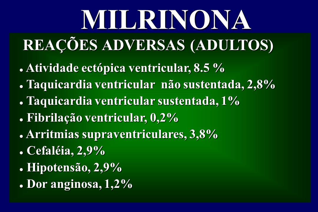 MILRINONA REAÇÕES ADVERSAS (ADULTOS) REAÇÕES ADVERSAS (ADULTOS) l Atividade ectópica ventricular, 8.5 % l Taquicardia ventricular não sustentada, 2,8% l Taquicardia ventricular sustentada, 1% l Fibrilação ventricular, 0,2% l Arritmias supraventriculares, 3,8% l Cefaléia, 2,9% l Hipotensão, 2,9% l Dor anginosa, 1,2%