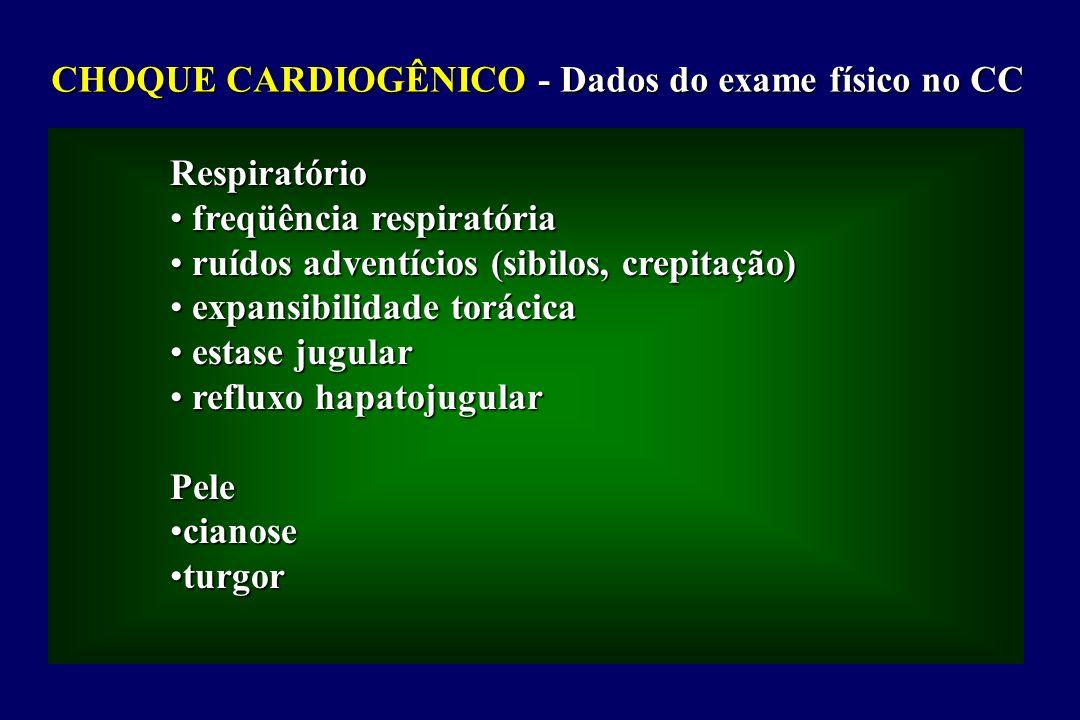 CHOQUE CARDIOGÊNICO - Dados do exame físico no CC Respiratório freqüência respiratória freqüência respiratória ruídos adventícios (sibilos, crepitação) ruídos adventícios (sibilos, crepitação) expansibilidade torácica expansibilidade torácica estase jugular estase jugular refluxo hapatojugular refluxo hapatojugularPele cianosecianose turgorturgor