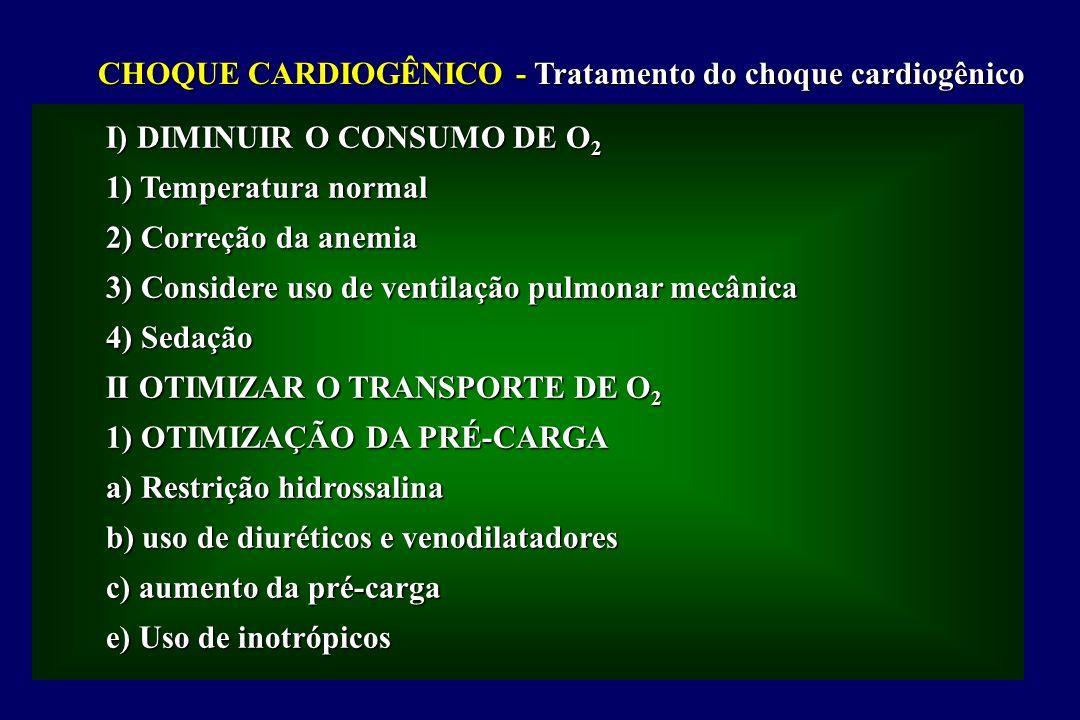 CHOQUE CARDIOGÊNICO - Tratamento do choque cardiogênico I) DIMINUIR O CONSUMO DE O 2 1) Temperatura normal 2) Correção da anemia 3) Considere uso de ventilação pulmonar mecânica 4) Sedação II OTIMIZAR O TRANSPORTE DE O 2 1) OTIMIZAÇÃO DA PRÉ-CARGA a) Restrição hidrossalina b) uso de diuréticos e venodilatadores c) aumento da pré-carga e) Uso de inotrópicos