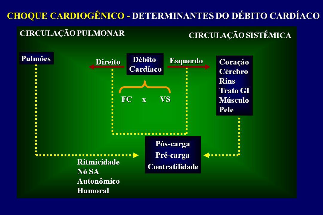 CHOQUE CARDIOGÊNICO - DETERMINANTES DO DÉBITO CARDÍACO CIRCULAÇÃO PULMONAR Pulmões Direito DébitoCardíaco Esquerdo CIRCULAÇÃO SISTÊMICA CoraçãoCérebroRins Trato GI MúsculoPele Pós-cargaPré-cargaContratilidade FC x VS Ritmicidade Nó SA AutonômicoHumoral