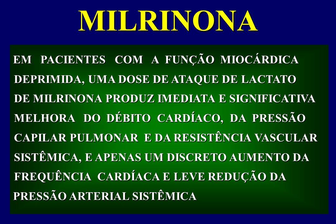 MILRINONA EM PACIENTES COM A FUNÇÃO MIOCÁRDICA DEPRIMIDA, UMA DOSE DE ATAQUE DE LACTATO DE MILRINONA PRODUZ IMEDIATA E SIGNIFICATIVA MELHORA DO DÉBITO CARDÍACO, DA PRESSÃO CAPILAR PULMONAR E DA RESISTÊNCIA VASCULAR CAPILAR PULMONAR E DA RESISTÊNCIA VASCULAR SISTÊMICA, E APENAS UM DISCRETO AUMENTO DA FREQUÊNCIA CARDÍACA E LEVE REDUÇÃO DA PRESSÃO ARTERIAL SISTÊMICA PRESSÃO ARTERIAL SISTÊMICA