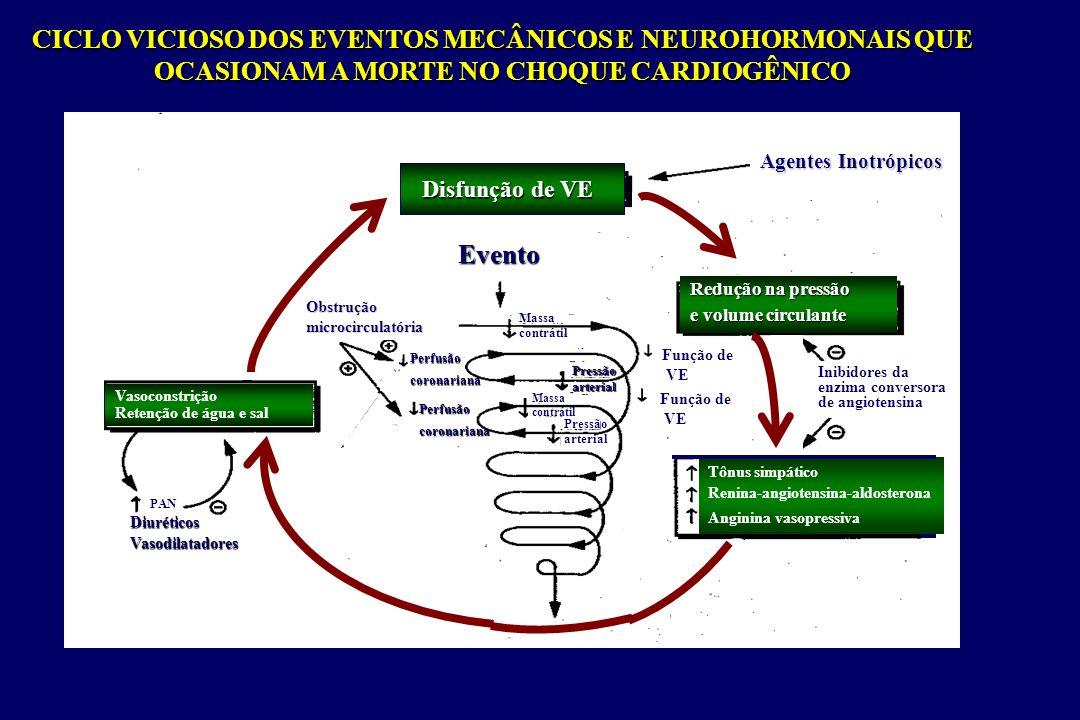 CHOQUE - Diagnóstico diferencial Informaçãodiagnóstica Hipovolêmico Cardiogênico Neurogênico Séptico (estado hiperdinâmico) Sinais e sintomasDadoslaboratoriais Palidez; pele marmórea, fria; taquicardia;oligúria;hipotensão; de resistência de resistênciaperiféricaHematócrito baixo (tardio) Pele marmórea, fria;bradiarritmias;oligúria;hipotensão; de resistência de resistênciaperiféricaECGenzimascardíacas Pele quente; FC normal ou baixa Diurese normal ou baixa hipotensão da resistência da resistênciaperiféricaNormal Tremores, febre, pele quente; taquicardia;oligúria;hipotensão; da resistência da resistênciaperiféricaLeucograma,Gram,culturas D(A-V)O 2 D(A-V)O 2