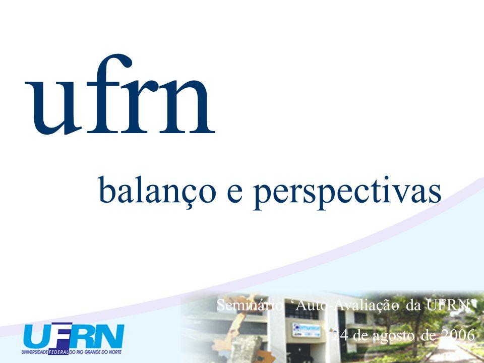 ufrn balanço e perspectivas Seminário Auto-Avaliação da UFRN 24 de agosto de 2006