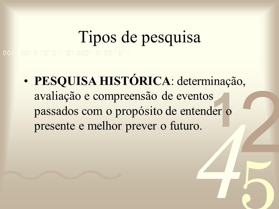 Tipos de pesquisa PESQUISA HISTÓRICA: determinação, avaliação e compreensão de eventos passados com o propósito de entender o presente e melhor prever