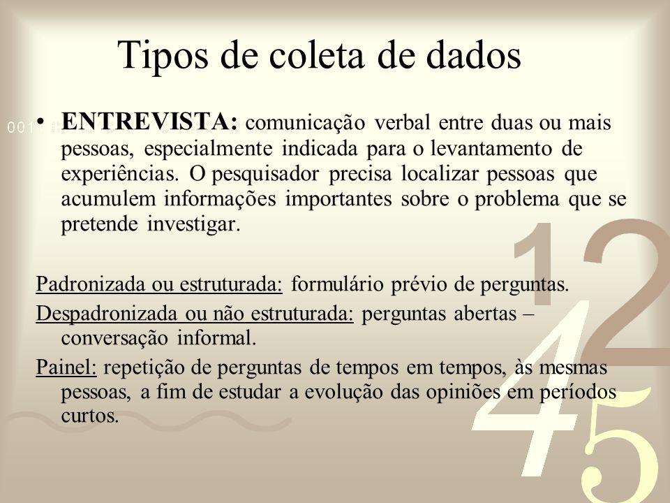 Tipos de coleta de dados ENTREVISTA: comunicação verbal entre duas ou mais pessoas, especialmente indicada para o levantamento de experiências. O pesq