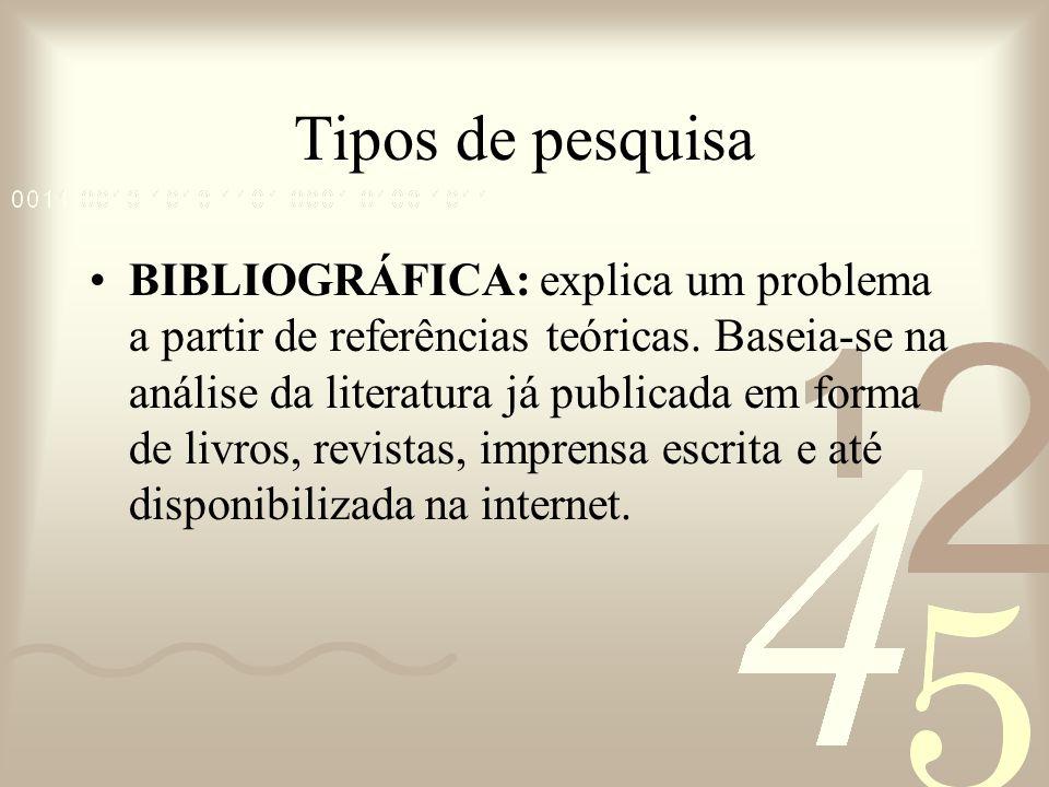 Tipos de pesquisa BIBLIOGRÁFICA: explica um problema a partir de referências teóricas. Baseia-se na análise da literatura já publicada em forma de liv