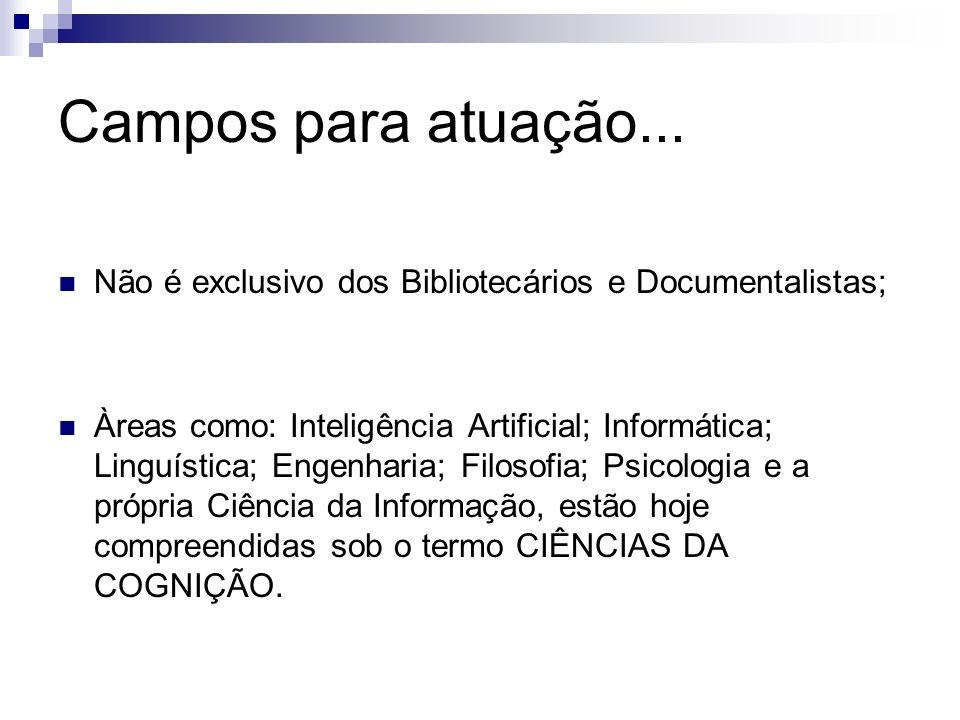 Campos para atuação... Não é exclusivo dos Bibliotecários e Documentalistas; Àreas como: Inteligência Artificial; Informática; Linguística; Engenharia