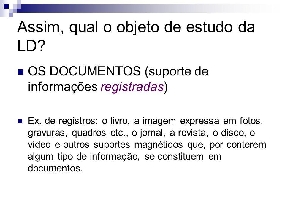 Assim, qual o objeto de estudo da LD? OS DOCUMENTOS (suporte de informações registradas) Ex. de registros: o livro, a imagem expressa em fotos, gravur