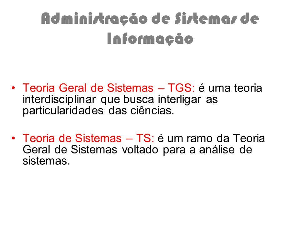 Administração de Sistemas de Informação Teoria Geral de Sistemas – TGS: é uma teoria interdisciplinar que busca interligar as particularidades das ciê