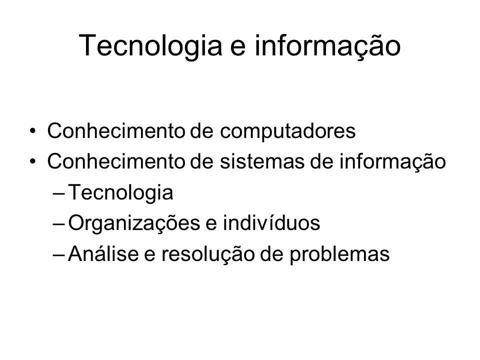 Tecnologia e informação Conhecimento de computadores Conhecimento de sistemas de informação –Tecnologia –Organizações e indivíduos –Análise e resoluçã