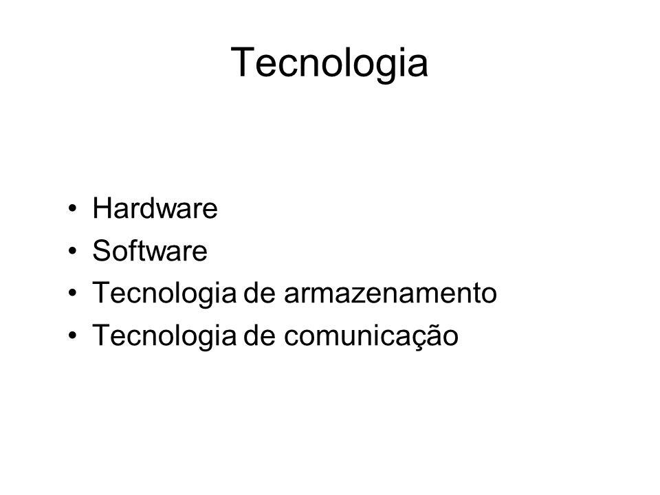 Tecnologia Hardware Software Tecnologia de armazenamento Tecnologia de comunicação
