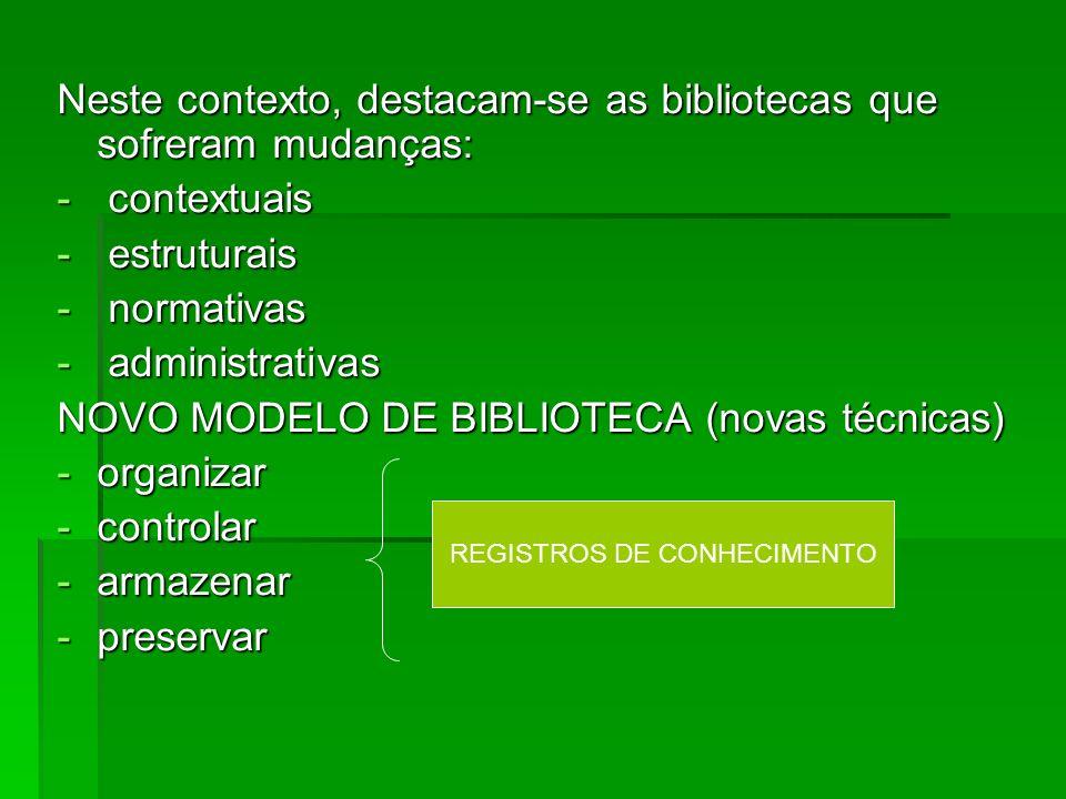 Neste contexto, destacam-se as bibliotecas que sofreram mudanças: - contextuais - estruturais - normativas - administrativas NOVO MODELO DE BIBLIOTECA (novas técnicas) -organizar -controlar -armazenar -preservar REGISTROS DE CONHECIMENTO